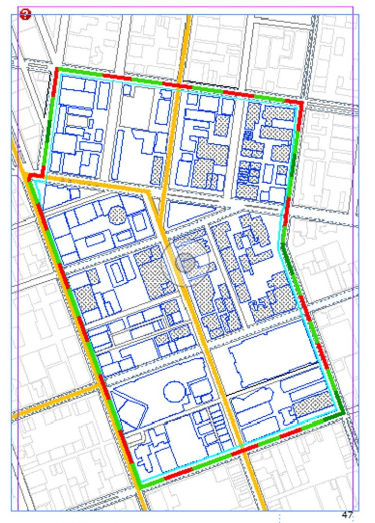 The existing fabric on the site includes roads, highway, tram lines, parking spaces, trees. I have studied the plan and the system of the site plan. Considering the fact that the city is running out of car parking facilities, the design proposed removes the car from the site and introduces pedestrain and bicycle, as the concept is to reforest the space making the site as a super block which will set an example for the city and later in future will be incorporated by the whole city. The idea of the Barrier is to restrict the outside campus citizens to come inside as they might destroy the enviornment inside the campus. On the other hand from outside it will create a curicioty among the people about whats going on inside the campus. The barrier invites the animals to come inside and  make the forest more alive.