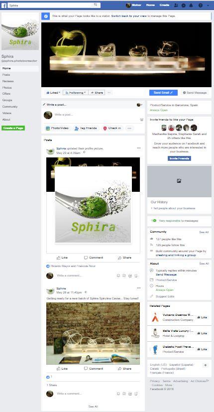 Sphira presence on FaceBook
