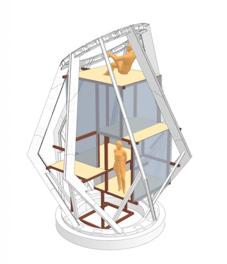 Scaffolding interiors to hold seven exterior ribs.