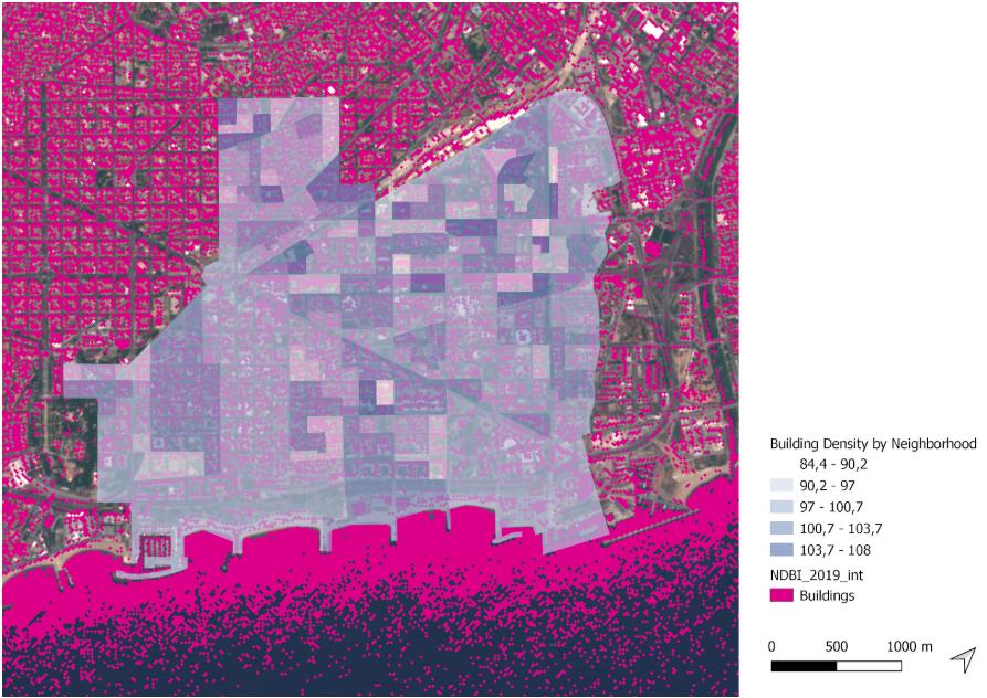 Building density per neighborhood in Sant Marti 2019