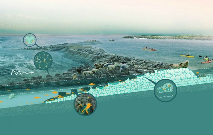 Oyster tecture proposal rendering by Kate Orff, 2009, EMPOWERING ANIMALS, COLLABORATING WITH ANIMALS
