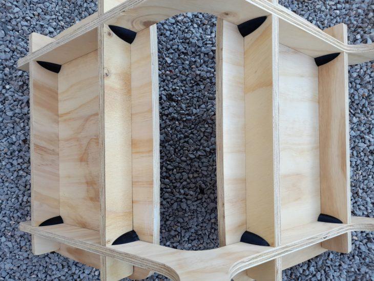 misilla, MAEBB, IAAC, Dafni Vakalopoulou, chair, 2020-2021, 3D printed joint, plywood