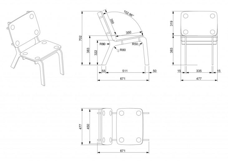 misilla, MAEBB, IAAC, Dafni Vakalopoulou, chair, 2020-2021, 3D printed joint, plywood, plans, dimensions