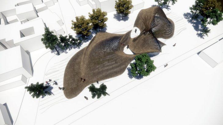 Bamboo, bird eye view, render, banksia, lithification, generative nature