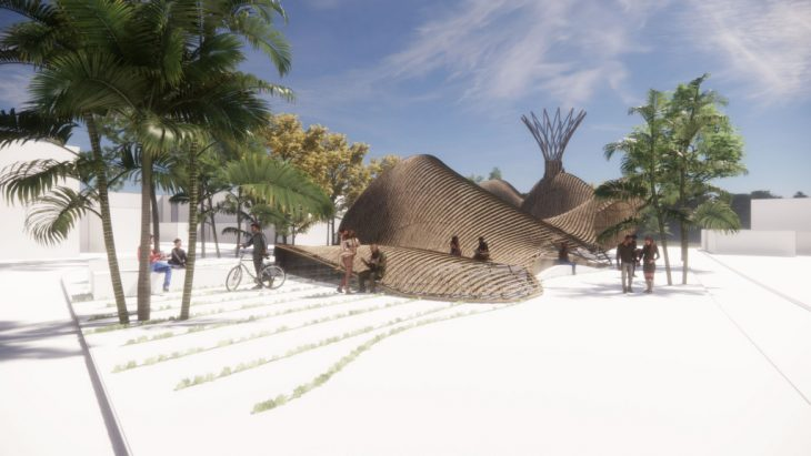 Render, bamboo, street view, banksia, lithification, generative nature