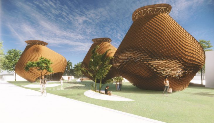 Research center, Street view render, public space, bamboo construction, bamboo
