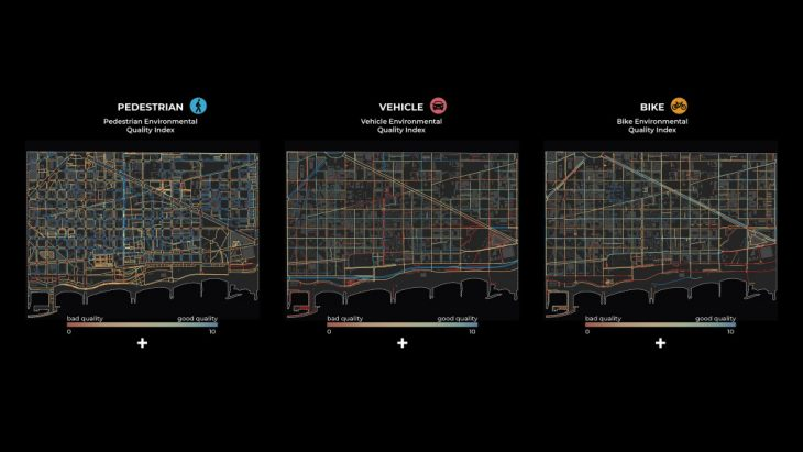 Pedestrian, vehicle, bike indexes - maps